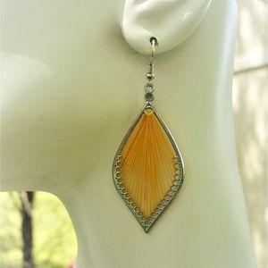Jewelry - Yellow thread earrings boho style NWOT